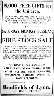 1927 June 17th Bradfields fire damaged stock