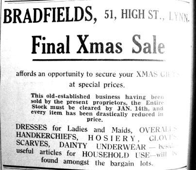 1935 Dec 13th Bradfields final Xmas sale