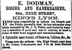 1878 Nov 2nd E Dodman succeeds J G Potter