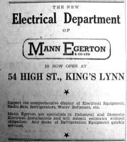 1947 Oct 10th Mann Egerton opens elec dept