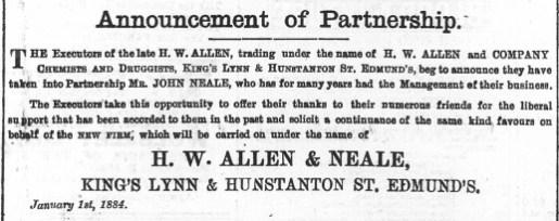 1884 Jan 5th Allen & Neale