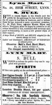 1856 FEb 16th S Bull @ No 56 & at 149 Nfk St