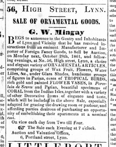 1861 Oct 26th G W Mingay sale of goods @ No 56
