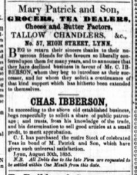 1855 Sept 1st IBBERSON succeeds Mary Patrick @ No 57