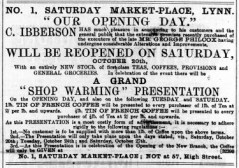 1888 Charles Ibberson opening on Saturday Mkt plce re No 57