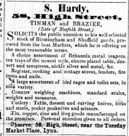 1857 Feb 14th S Hardy @ No 58