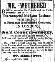 1847 May 12th Mr Wethered
