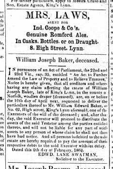 1864 March 26th William Joseph Baker deceased No 62