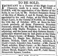 1870 Sept 17th J C Baker @ No 62