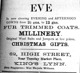 1923 Dec 7th EVE Miss Marjorie Williams