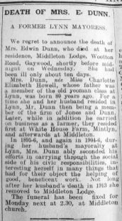 1925 Feb 13th Obit Mrs Edwin Dunn