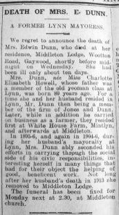 1925 Feb 13th Obit Mrs Edwin Dunn