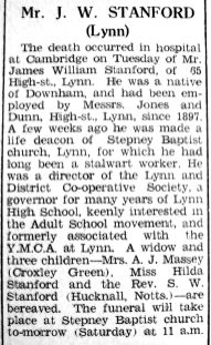 1942 June 5th obit J W Stanford employee @ Jones & Dunn
