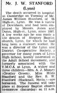 1942 June 5th obit J W Stanford employee @ Jones & Dunn