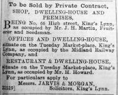 1908 July 17th No 66 for sale (tenant J H Martin)