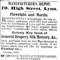 1845 Oct 11th Plowright & Martin