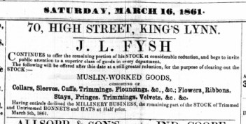 1861 March 16th J L Fysh gives up millinery @ No 70