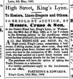 1862 May 17th ex Fysh shop for sale @ No 70