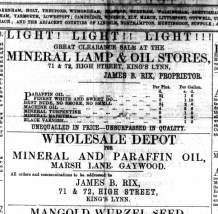 1866 March 9th James B Rix @ Nos 71 & 72