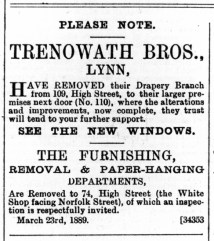 1889 March the 30th Trenowath Bros @ 109 & 110 also 74