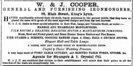 1884 Feb 23rd W & J Cooper