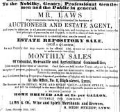 1847 Oct 30th G Laws auction sale