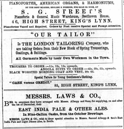 1883 7th April Laws & Co @ No 8