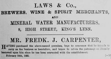 1892 Feb 27th Laws & Co Fredk Carpenter