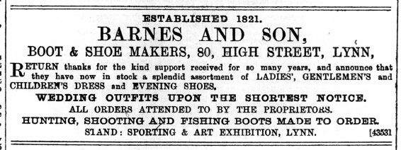 1890 November 29th Barnes & Son @ No 80