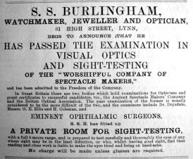 1910 June 16th S S Burlingham Exam Pass