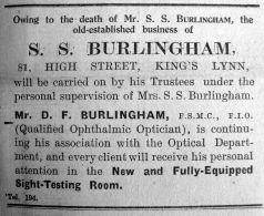 1927 Jan 21st Notice re S S Burlingham