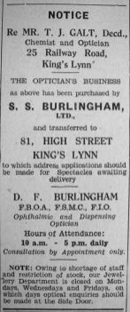 1942 Feb 13th SS Burlinghams buy Galts + early closing