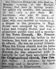 1925 Feb 27th obit Francis Kerkham