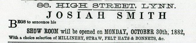 1882 21st Oct Josiah Smith @ No 86