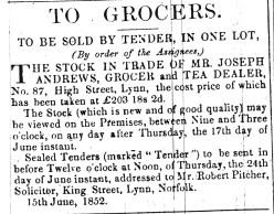 1852 June 19th Stock in trade sale ex Joseph Andrews