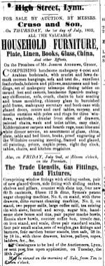1852 June 26th Selling off ex Joseph Andrews