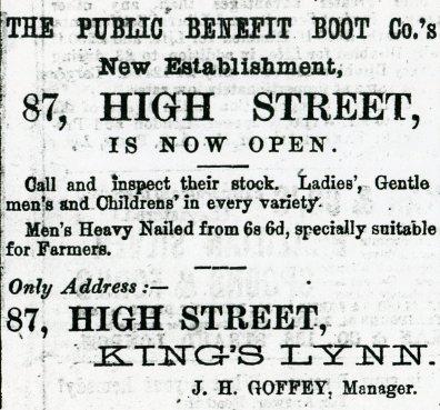 1882 23rd Sept Public Benefit Boot Co @ No 87