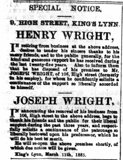 1885 March 14th Joseph Wtight ex LN