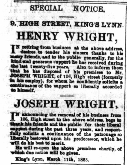1885 March 14th Joseph Wtight ex LN