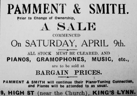 1932 April 15th Pamment & Smith sale prior to change of ownership Gscale
