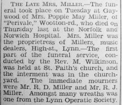 1935 Apr 26th obit Mrs Miller
