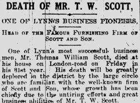 1915 Feb 13th Death of TW Scott