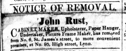 1863 March 28th John Rust moves into No 95