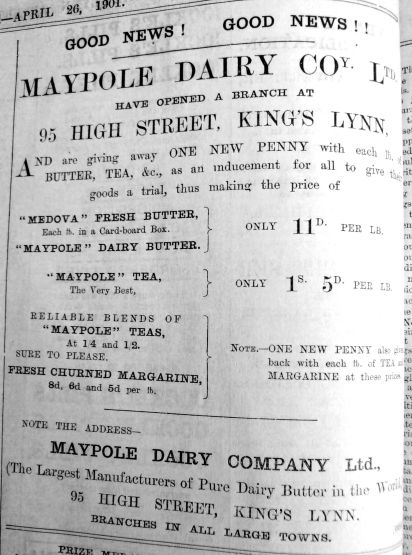 1901 Apr 26th Maypole Dairy Co