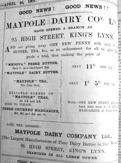1901 Apr 26th Maypole Dairy Co