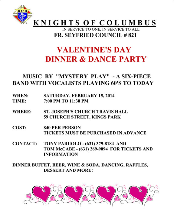 Knights Of Columbus Valentines Day Dinner Amp Dance Party