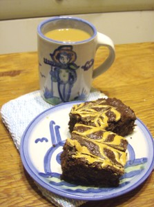 Coffee with Gluten Free Peanut Butter Brownies