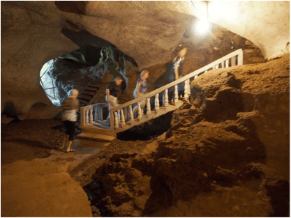 Within a cave in which Laotians lived for up to a decade.