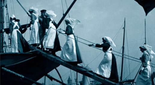 Cover image from the Penguin Edition of Testament of Youth. Shows young nurses boarding a boat