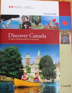 """Cover image of """"Discover Cabada: the rights and responsibilities of citizenship"""" showing an image of a veteran and a war memorial, underneath two people, a man and a woman, canoeing in Ottawa with parliament visible in teh background."""